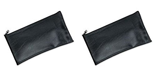 MMF Industries Leatherette Zipper Wallet, 11 x 6 Inches, Black (2340416W04), 2 Packs