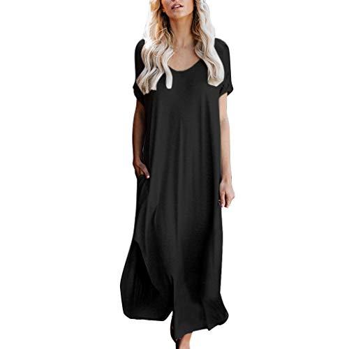 Women's Summer Maxi Dresses Racerback Casual Loose Pockets Long Dress Short Sleeve Flowy Split T-Shirt Dress