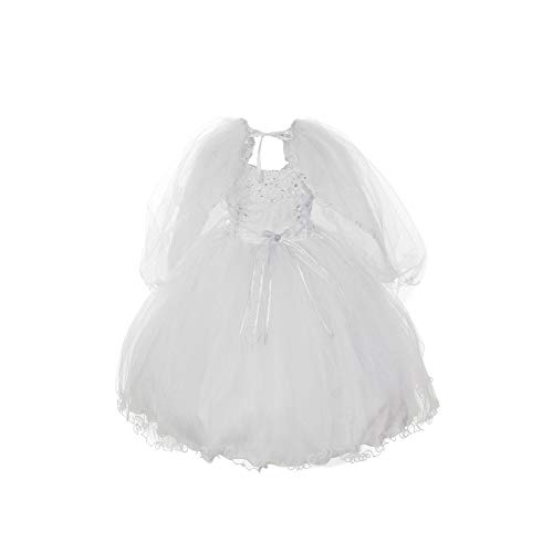 The Rain Kids Rain Kids Little Girls White Organza Tulle Baptism Cape Dress 4T ()