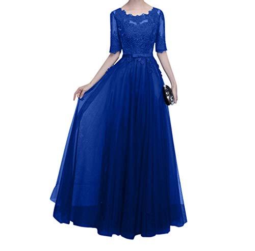 Damen Brautmutterkleider Charmant Ballkleider Mutterkleider Spitze Navy Langarm Hundkragen mit Blau Royal Abendkleider Blau dF1qU