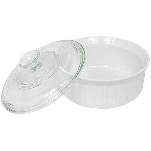 CorningWare French White 1-1/2-Quart Covered Round Dish with Glass Top by CorningWare