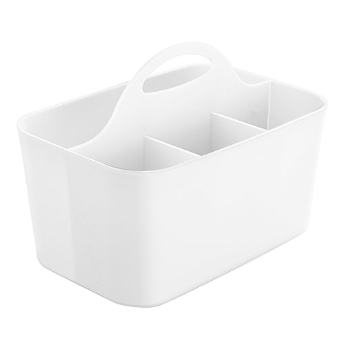 InterDesign Clarity Silverware, Flatware Caddy Organizer for Kitchen Countertop Storage, Dining Table - White
