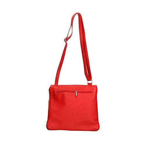 en Cm de cuero Rojo mujer Italy in de 24x24x2 Made genuino hombro Aren Bolso AwCqqZ