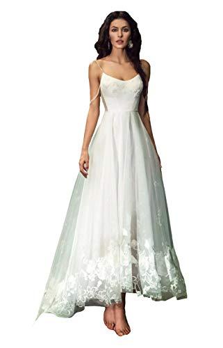 Lazacos Women's High Low Spaghetti Straps Flower Appliques Beach Wedding Dress White ()