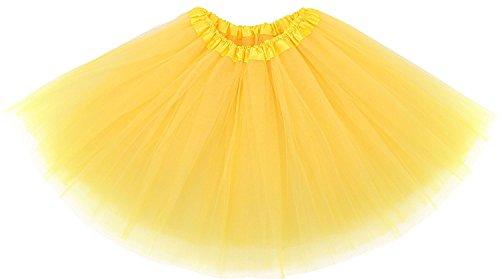 Adult Womens, Elastic Band 3 Layered Mini Tutu Soft Tulle Skirt,Teen,Girls(Yellow)
