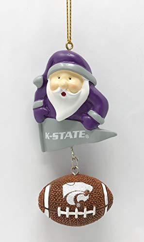 K-State Wildcats Santa & Football Christmas Tree Ornament - Officially Licensed - Kansas State Wildcats Santa