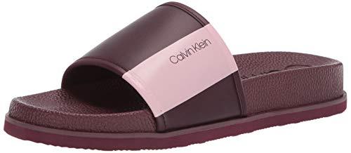 Calvin Klein Men's MACKEE Slide Sandal, Bordeaux Logo, 8 M US (Men Shoes Sandal Klein Calvin)