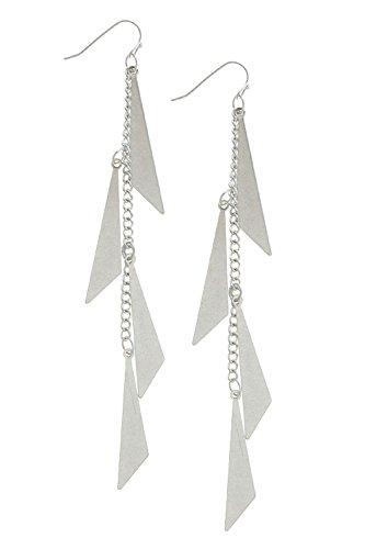 Trifari Triangle Earrings (TRENDY FASHION JEWELRY TRIANGLE CUTOUT CHAIN DROP EARRINGS BY FASHION DESTINATION | (Matted Silver))