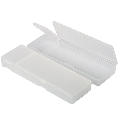 Creative Officeworks Plastic Pencil Cases, Frosty Transparent Finish, Two Compartments With Separate Lids - Best For School And Work (White, 2Pack)