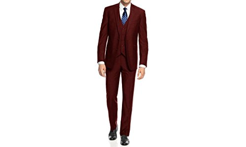 Caravelli Men's 60509 3-Piece Single Breasted Slim Fit Vested Suit. Burgundy - 44R