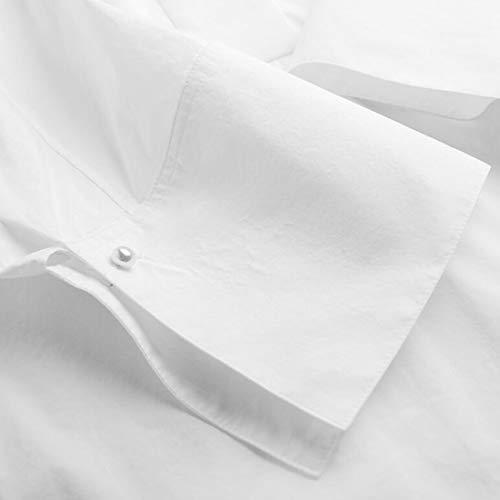 Yahuyaka Mujer color Manga Ol Estilo White L De Suelta Blanco Corta Size Cuello White Camisa Para SArSqUaw