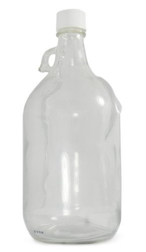 Safety Dispensing Jugs - Qorpak GLC-02234 Safety Coated Clear Glass Jug with 38-439 White Polypropylene F422 HDPE Foam Lined Cap, 84oz Capacity, 137mm OD x 310mm Height (Case of 6)