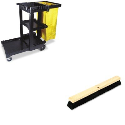 KITBWK20224RCP617388BK - Value Kit - Boardwalk Floor Brush Head (BWK20224) and Rubbermaid Cleaning Cart with Zippered Yellow Vinyl Bag, Black (RCP617388BK)