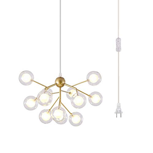 Dellemade DD00134 Plug in Sputnik Chandelier 12-Light Golden Pendant Light with 16 ft Cord Bulbs Included - Pendant Cord Assembly
