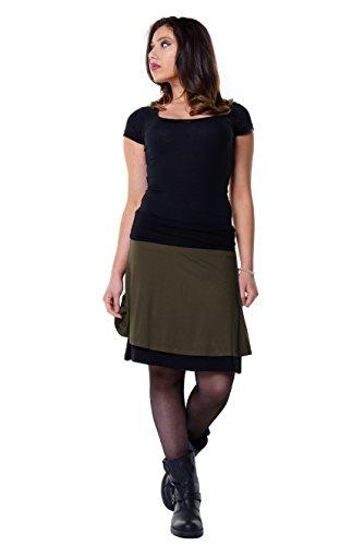 faldas de rueda de dos capas, bicolor, ligero oscilante Faldas verano de 3Elfen producido en Berlín oliva