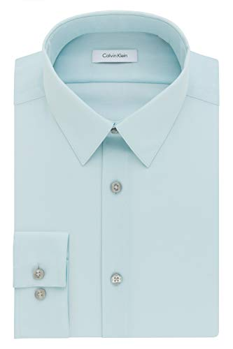 Mint 393 (Calvin Klein Men's Dress Shirt Slim Fit Non Iron Herringbone, Mint Julip 16.5