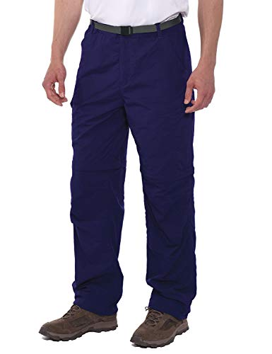 Spexial Men's Stretch Convertible Pants Zip-Off Quick Dry Hiking Pants Navy Blue Size L