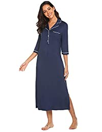 Ekouaer Sleep Shirt Women's Long Sleeve Sleepwear V Neck Night Dress Nightgown Loungewear S-XXL