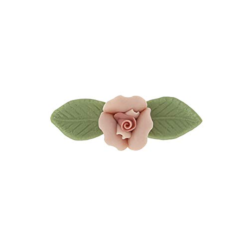 1928 Jewelry Pink Genuine Porcelain Rose and Green Leaf 14K Gold-Dipped Bar Pin