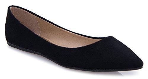 Tallone Piatto Punta A Punta Olivia K Donna - Slip On Style Balletto Comfort Casual Con Vernice Scamosciata Morbida E Pelle Nera