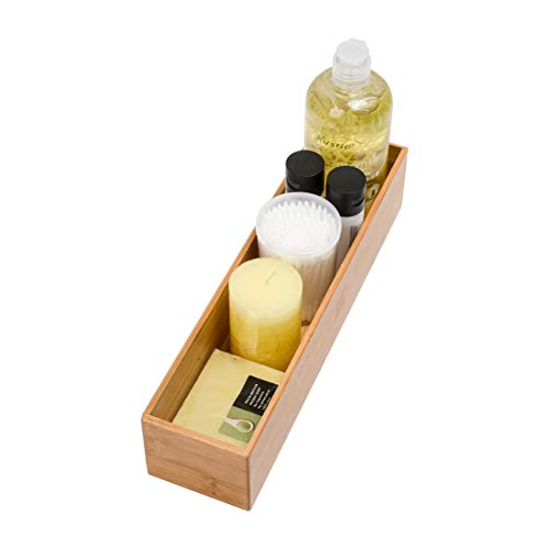 Drawer Organizer Storage Box Bathroom Living Room Kitchen Bamboo (12