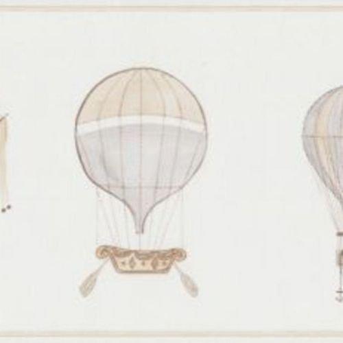 19001133 - Jules et Julie Grey Air Ballons Casadeco Wallpaper Border by Casadeco