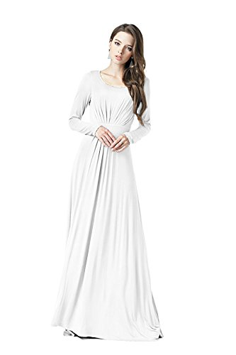 Charm Your Prince Women's Designer Round Neck Long Sleeve Maxi Dress White XS