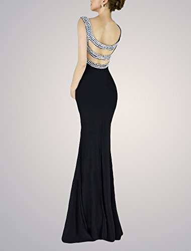 Beaded V Neck Long Evening Dress Formal Mermaid Party Gown Black Size 6