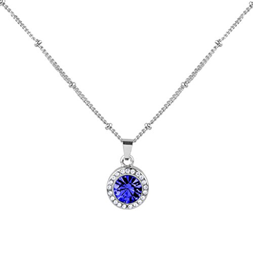 Lux Accessories Synthetic Sapphire September Saphire Birthstone Pendant (Pendant September Birthstone)