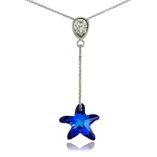 Swarovski Crystal Starfish Necklace (Bria Lou 925 Sterling Silver Bermuda Blue Starfish Drop Y-Necklace Adorned with Swarovski Crystals, 18+3