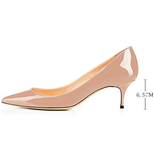 Hecater Pumps Shoes, Mujeres Classic Slip On Puntiagudo Bajo Vestido De Novia Del Talón Del Gatito Nude Del Zapato