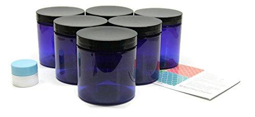 Cobalt Blue 8 oz Plastic Jars with Black Lids 6 pk with Mini Jar - PET Round Refillable (Black Plastic Jars)