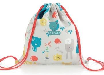 Pirulos 48012220  - Bolsa merienda, diseño happy zoo, 26 x 23 cm, color blanco y gris