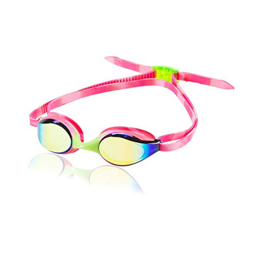 Speedo Jr. Hyper Flyer Mirrored Swim Goggles, Panoramic, No Leak, Anti-Glare, Anti-Fog with UV Protection, Pink, 1SZ