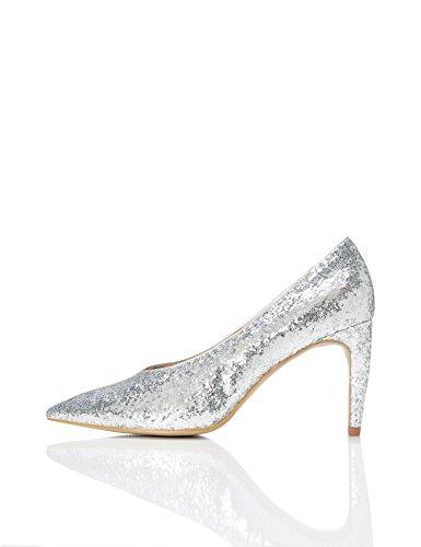 FIND Escarpins Femme Paillettes Argent Silver à UROU1qw6