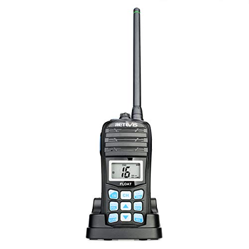 Retevis RT55 Marine Radio Floating Long Range Waterproof Handheld VHF Radio with NOAA Weather Alert and Vibration Water Draining Function(1 Pack)