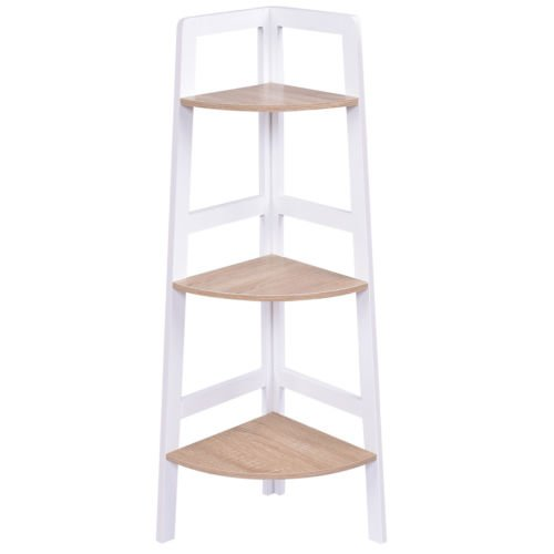 3-Tier 2PCS Corner Ladder Shelf Bookshelf Set Storage Rack Holder Organizer Rack by White Bear & Brown Rabbit