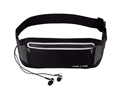 ONE LIFE Slim Running Belt, Reflective Waist Pack Fitness Sport Belt, Bounce Free Runner Pouch with Phone Pocket Headphone Hole for Women Men (Black)