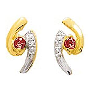 So Chic Bijoux © Boucles d'oreilles Femme Puces Bandes Virgules Parenthèses Oeil Rubis Rouge & Oxyde de Zirconium Blanc Or Jaune 750/000 (18 carats)