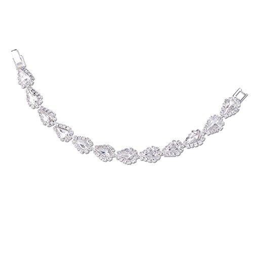 Wrapped Crystal Bracelet (Silver Crystal Rhinestone Wrapped Around Crystal Teardrop Bracelet)