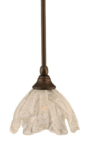 Toltec Lighting 23-BRZ-759 Stem Mini-Pendant Light Bronze Finish with Italian Ice Glass, 7-Inch