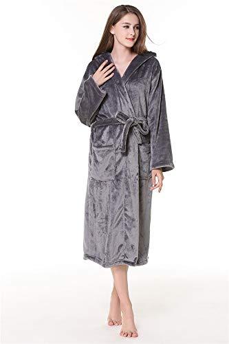 Parejas Capucha Caliente De Albornoces Manga Ytfoplk Batas Grey Para Larga Espesar m Rojos Franela Mantener Kimono Con Mujeres Bata Sexy PvvfF