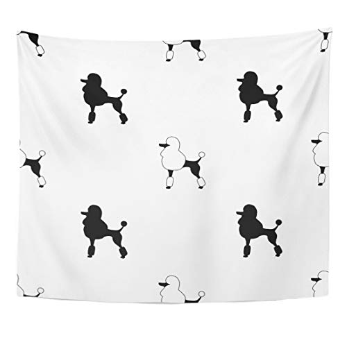 Emvency Tapestry Animal Silhouette Walapaper Black Poodles on White Dog Breed Color Cute Home Decor Wall Hanging for Living Room Bedroom Dorm 50x60 Inches