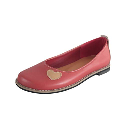 Severkill Women's Flat Memory Foam Cushioned Insole Casual Slip-On Loafers Sneakers Shoes Red