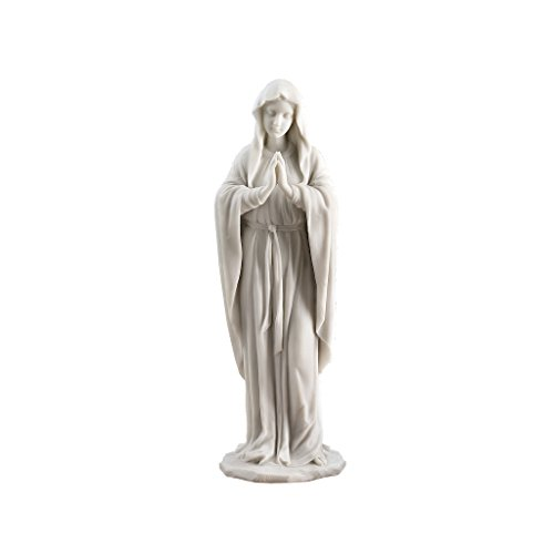 Design Toscano Blessed Virgin Mary Statue, Small 12 Inch Figurine, Bonded Marble Polyresin, White (Figurine Angel Designer)