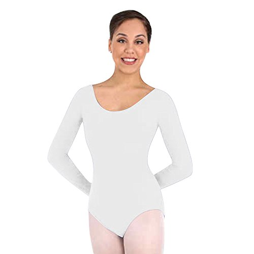 Body Wrappers Long Sleeve Leotard - Body Wrappers Classwear Long Sleeve Ballet Cut Leotard, White, 12-14