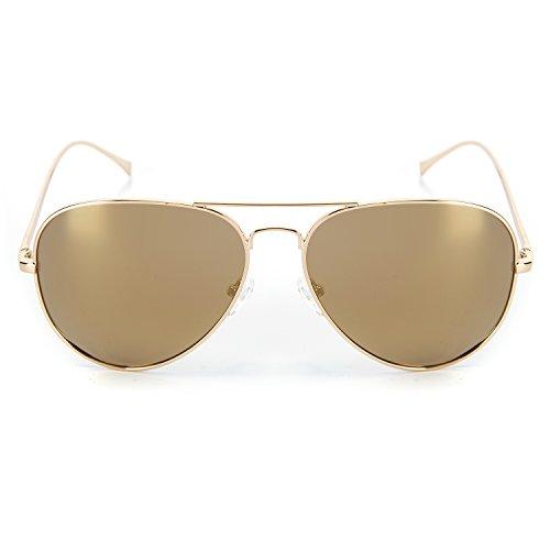 YJMILL 2017 New Polarized Sunglasses Retro Pilots Riding Fishing Golf Travel Sunglasses Men 0863 (Gold, Brown (No Prescription Color Contacts)
