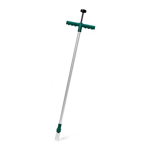 Relaxdays Unkrautstecher Länge: 100 cm Unkrautentferner aus Aluminium mit Auswurf-Mechanismus Löwenzahnstecher und Distelstecher ergonomischer Unkrautzieher mit Stahlkrallen, grün-grau
