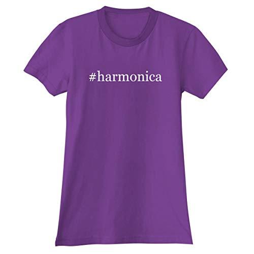 - #Harmonica - A Soft & Comfortable Hashtag Women's Junior Cut T-Shirt, Purple, Large