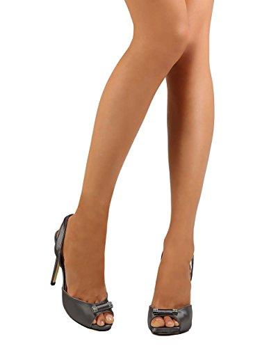 Camille Ei07 Kvinner Satin Peep Toe Dorsay Stiletto Slingback Sandal - Tinn